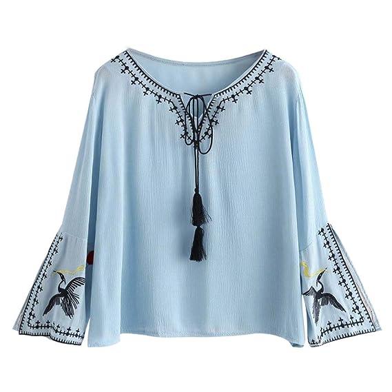 Vovotrade Mujer chino Bordado Collarband Camiseta Manga larga Gasa Casual Blusa ganso: Amazon.es: Ropa y accesorios