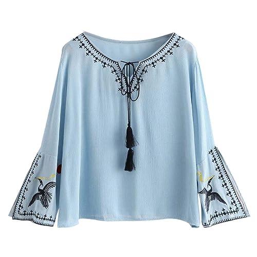 Vovotrade Mujer chino Bordado Collarband Camiseta Manga larga Gasa Casual Blusa ganso