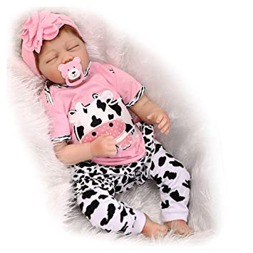ZIYIUI 55 cm 22 Inch Muñecas Bebé Reborn Silicona Suave Dormido Niña Reborn Baby Dolls Renacer Realistic Bebe Reborn Muñecos Simulación de Juguete ...