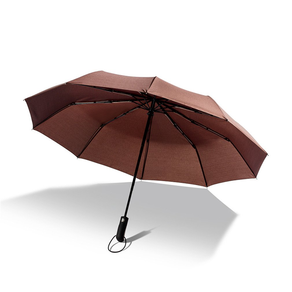 Guoke A Key To Business Men And Women Fully Automatic Folding Umbrella With Fine Rain Two Oversized, Brown