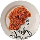 "Funny Portrait Of A Lady Pasta - 9"" White Porcelain Plates - Set Of 4"