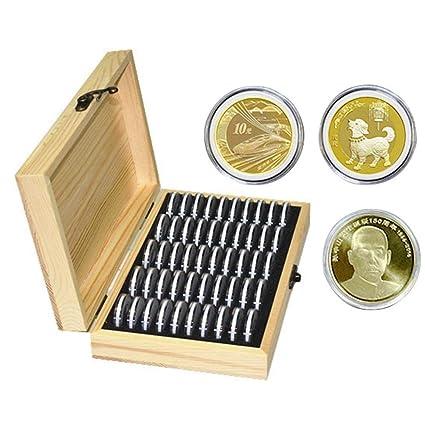 Inciple 50 Cajas de Almacenamiento de Monedas Almacenamiento de Monedas Redondas Caja de Madera Conmemorativo Caja de Colección de Monedas