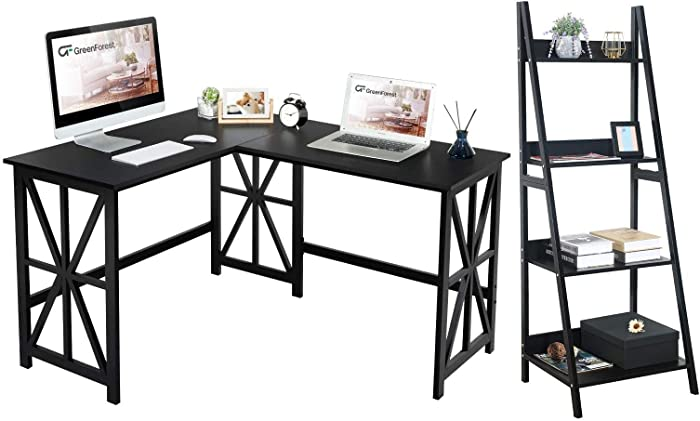 GreenForest L Shaped Desk and Ladder Shelf Bundle, Industrial Style Compact Design Home Office Furniture Set, Black