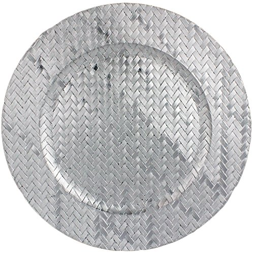 Basket Weave Design 13'' Round Plastic Charger Dinner Plates by bogo Brands (Silver Set of 100) by bogo brands (Image #1)