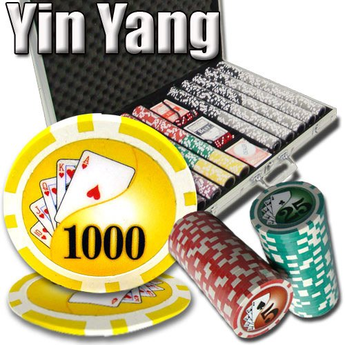 Brybelly 1,000 Ct Yin Yang Set - 14g Clay Composite Chips with Aluminum Case, Playing Cards, Dealer Button ()