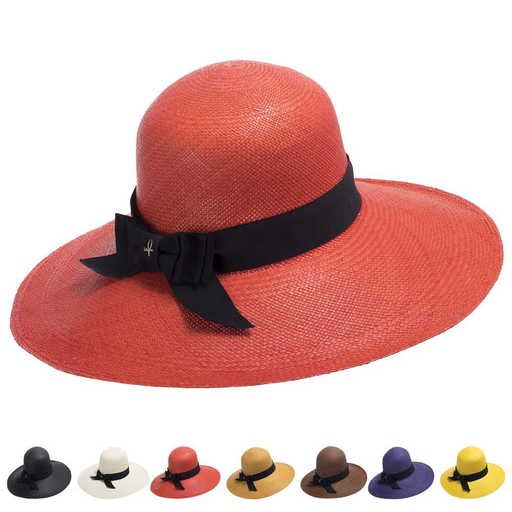 Ultrafino Francesca Wide Brim Straw Panama Sun Hat RED by Ultrafino (Image #1)