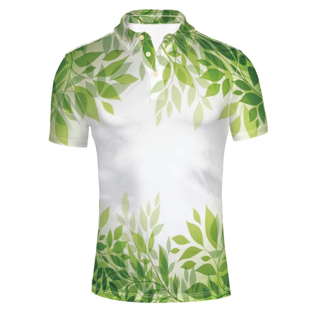 COVASA Adult Mens Forest Floral Decor Foliage Country Style Polo Shirt
