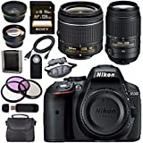 Nikon D5300 DSLR Camera with AF-P 18-55mm VR Lens (Black) 55-300mm f/4.5-5.6G ED VR Lens + Sony 128GB SDXC Card + Carrying Case Bundle