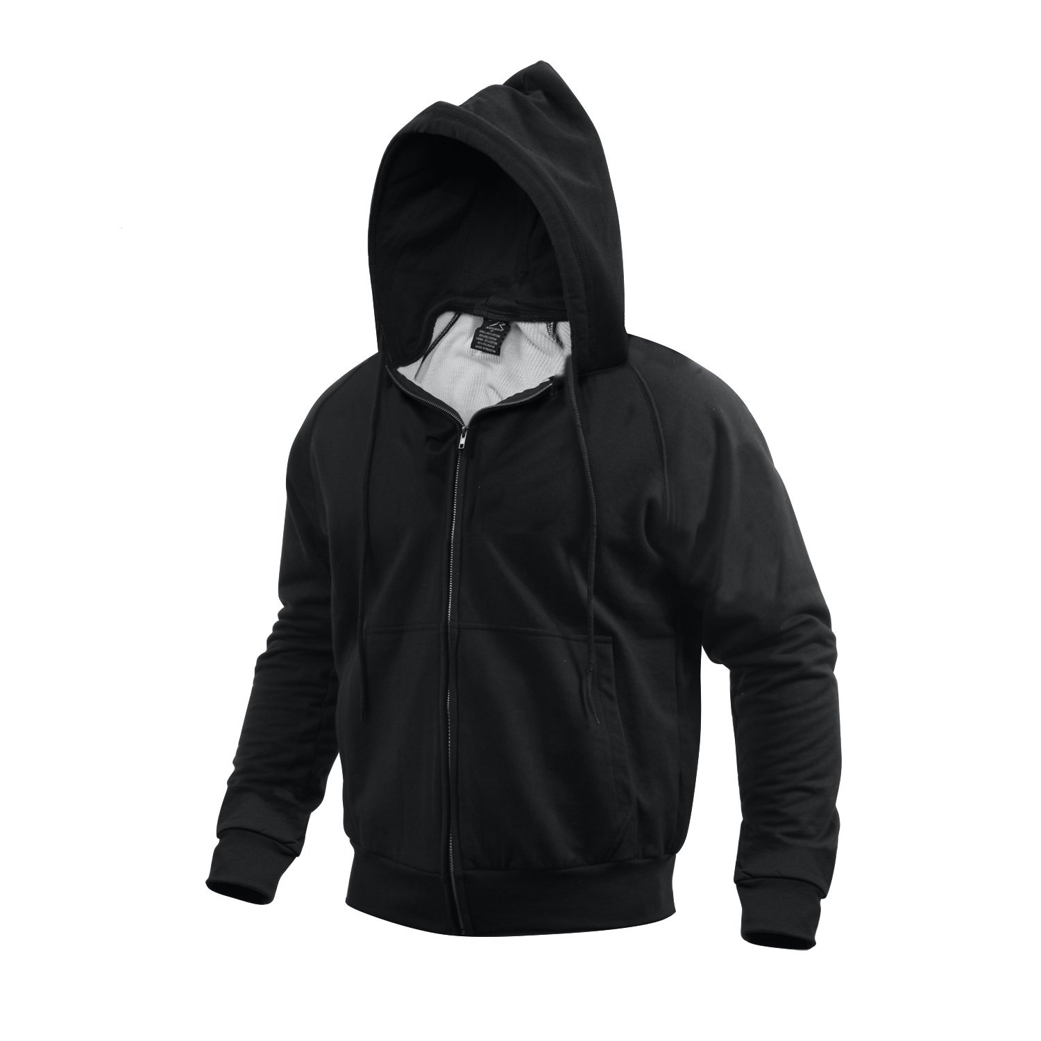 Amazon.com  Black Thermal Lined Zipper Hooded Sweatshirt - Large  Sweaters   Clothing 58a63b0f913