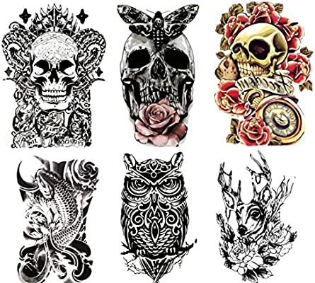Large Non Toxic Temporary Tattoos Set Of 6 Fake Tattoos Skull Koi Fish Owl Rose Butterfly Deer 6 X 8 Removable Body Art Tattoos Amazon Sg Beauty