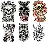 Large Non-Toxic Temporary Tattoos | Set of 6 Fake Tattoos (Skull, Koi Fish, Owl, Rose, Butterfly & Deer) | 6' x 8' Removable Body Art Tattoos