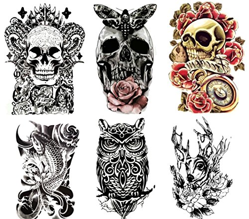 "Large NonToxic Temporary Tattoos | Set of 6 Fake Tattoos Skull Koi Fish Owl Rose Butterfly amp Deer | 6"" x 8""  Removable Body Art Tattoos"