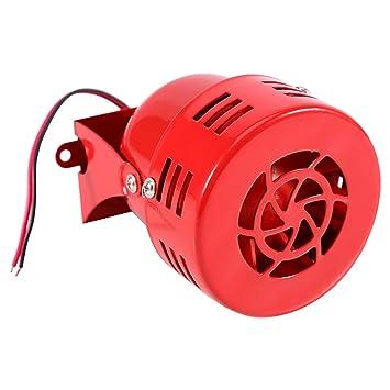 Qiilu 12v Eléctrico Alarma Sirena de aire para Carro Coche Motocicleta Alarma 50 Loud Rojo