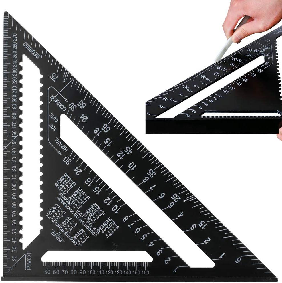 Regla de Triángulo 12 Pulgadas ManLee Escuadra Carpintero Metalica Regla Triangular Escuadra de Aleación de Aluminio Métrico/Imperial Alta Precisión para Ingeniero Carpintero Bricolador Carpinteria: Amazon.es: Bricolaje y herramientas