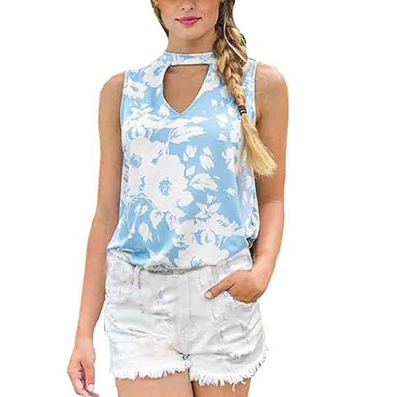 Tapas del tanque de mujeres -SHOBDW cuello gargantilla de Camisas Sin Mangas de la cordón