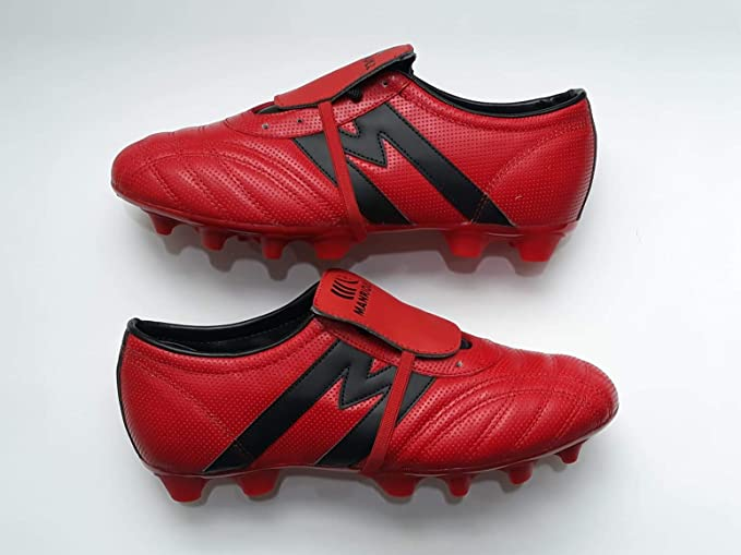 949afffbb7ec6 Manríquez Tacos Fútbol Soccer Mid SX Plus Rojo Negro 100% Piel   Amazon.com.mx  Deportes y Aire Libre