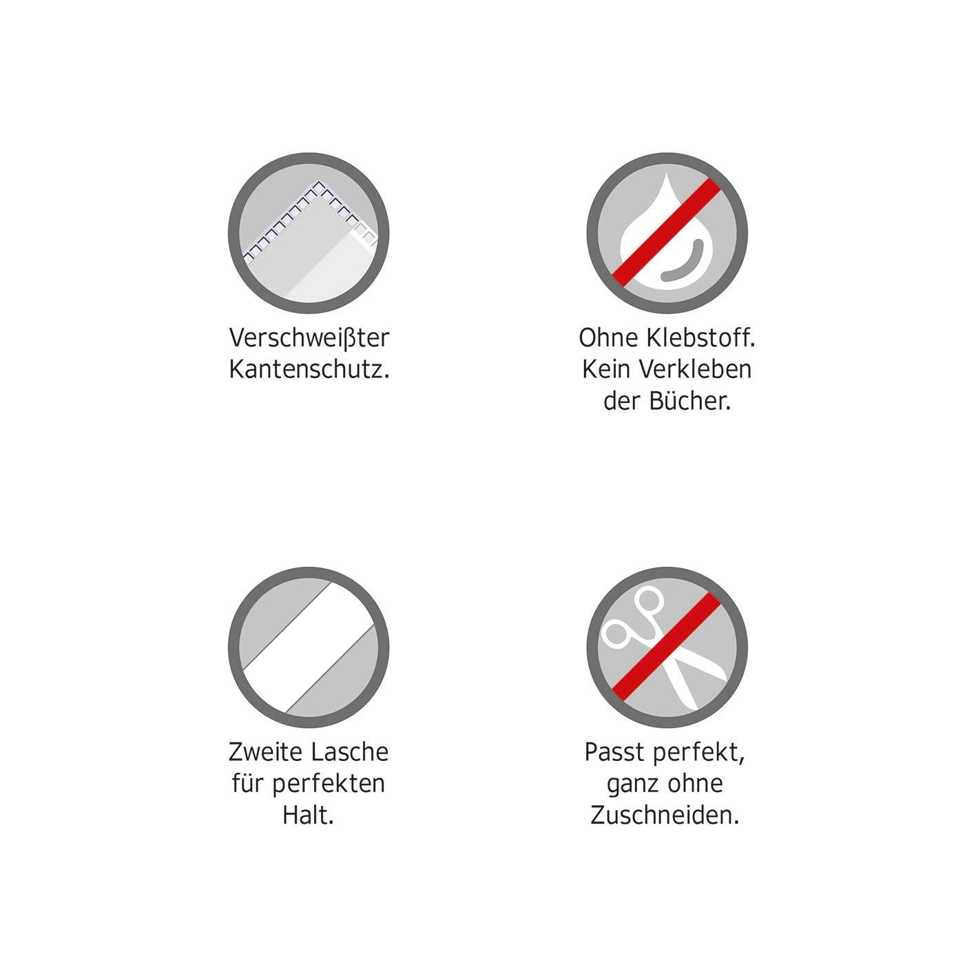 HERMA 14250 Buchumschlag Basic 1 Buchschoner f/ür Schulb/ücher Buchh/ülle aus robuster Folie mit Namensetikett Gr/ö/ße 25 x 44 cm, transparent
