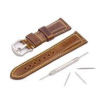Cinturino orologio da uomo in pelle Panerai cinturino vintage da ricambio Fibbia acciaio argentato per tutti i tipi di orologio da 20mm 22mm 24mm 26mm classico orologio sportivo accessori marrone