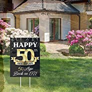 Tin Poster Metal Sign 50th Anniversary Yard 50th Wedding Anniversary Lawn Black And Gold 50th Anniversary Part
