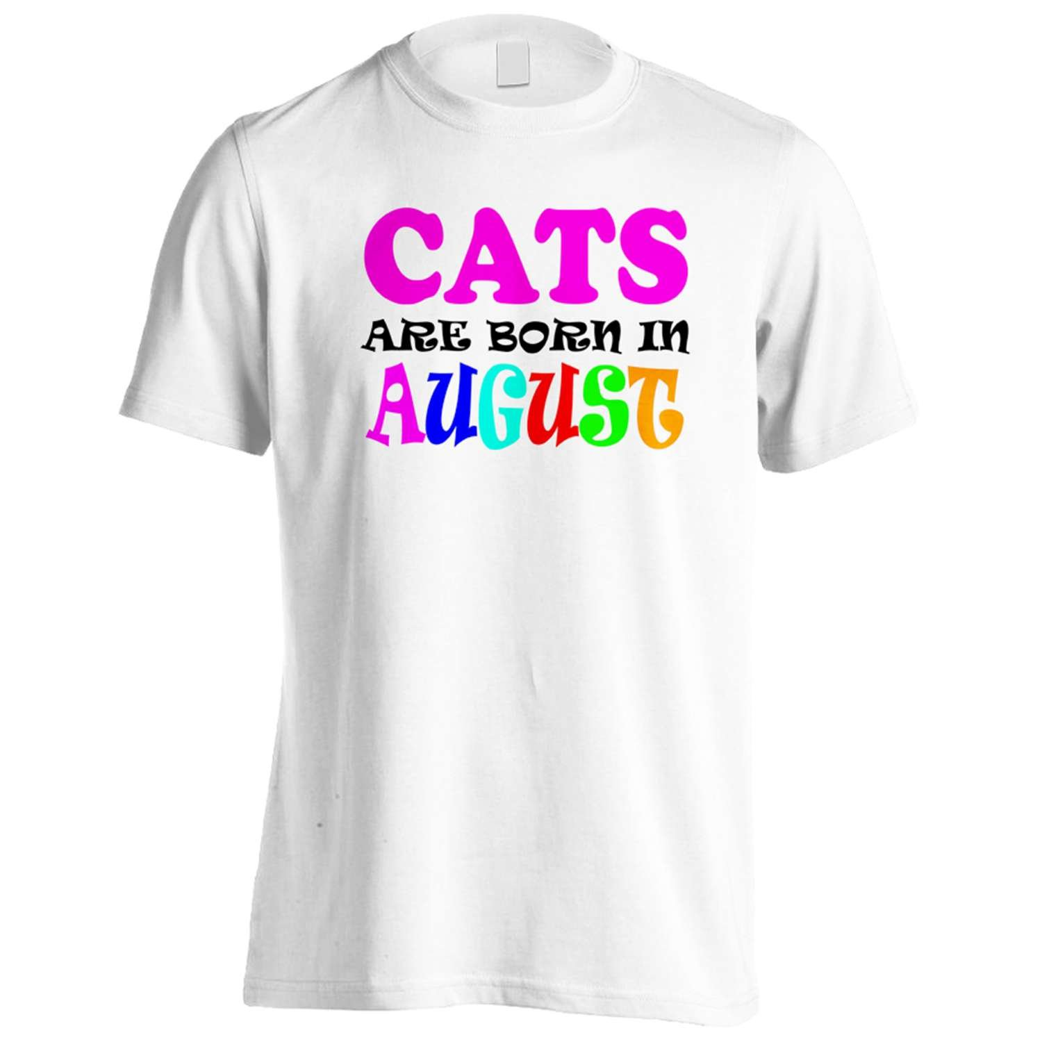 CATS ARE BORN IN AUGUST FUNNY Men's T-Shirt Tee v85m