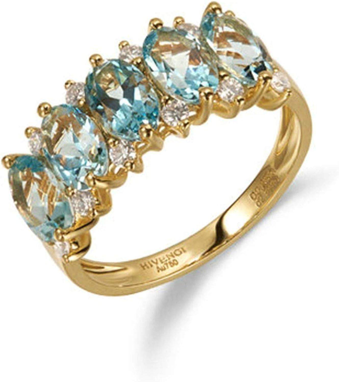 Daesar Anillo de Mujer Oro Azul Claro Anillos de Compromiso Oro Amarillo 18K Oval Aguamarina Azul Claro 2.1ct Diamante 0.288ct