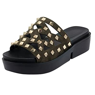 AIYOUMEI Damen Offene Plateau Pantoletten Slipper Sandalen mit Nieten Bequem Sommer Draussen Schuhe