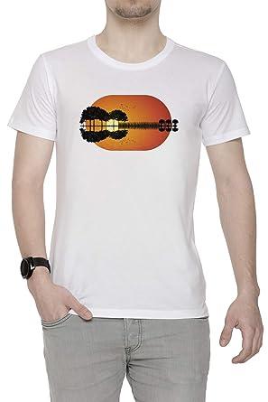 Guitarra Isla Puesta de Sol - Guitarra Hombre Camiseta Cuello ...