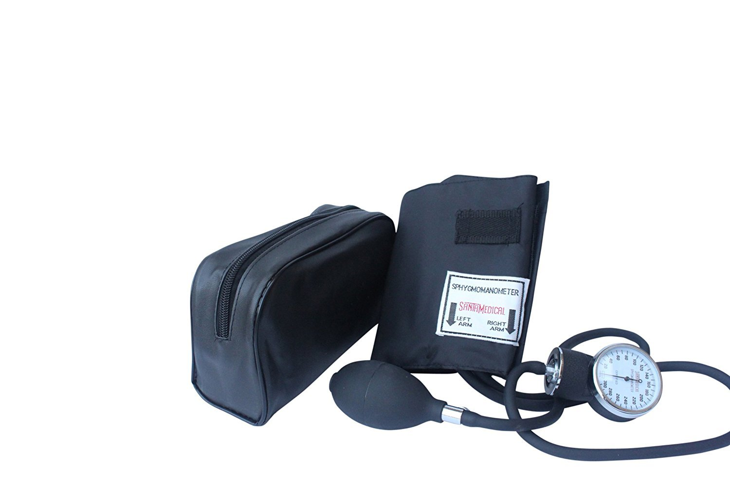 Santamedical Adult Deluxe Aneroid Sphygmomanometer - Professional Blood Pressure Monitor with Adult black cuff and Carrying case