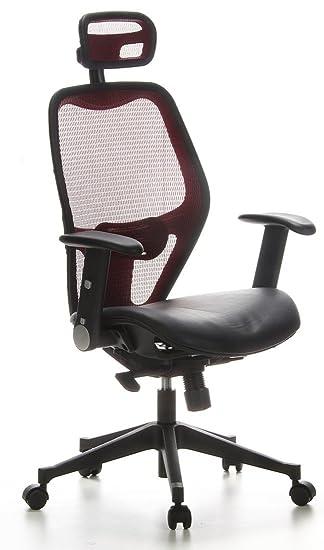 HJH Office AIR-PORT Silla de oficina Rojo y Negro 48.0x59.0x117.0 cm