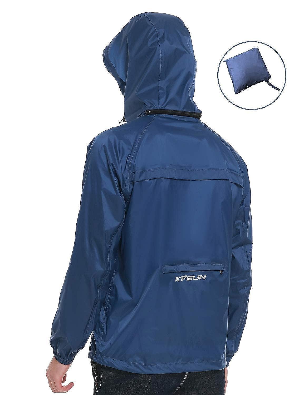 KPSUN Mens Lightweight Waterproof Raincoat Outdoor Packable Hooded Windbreaker Rain Jacket