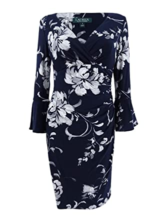 7d51b632 LAUREN RALPH LAUREN Womens Petites Elsietta Floral Print Mini Dress Navy 2P