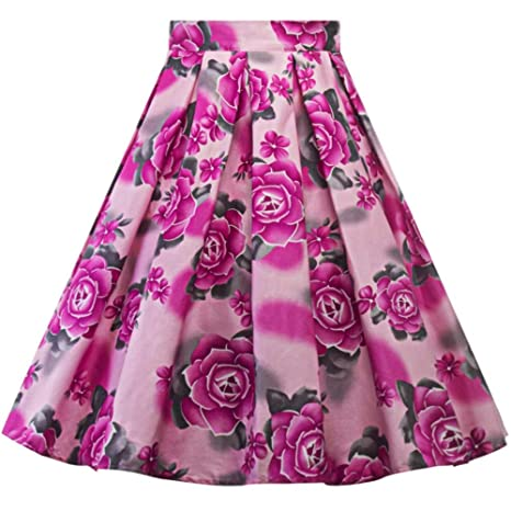 HEHEAB Falda Dividida Dividir La Mujer Falda Vintage Estampados ...
