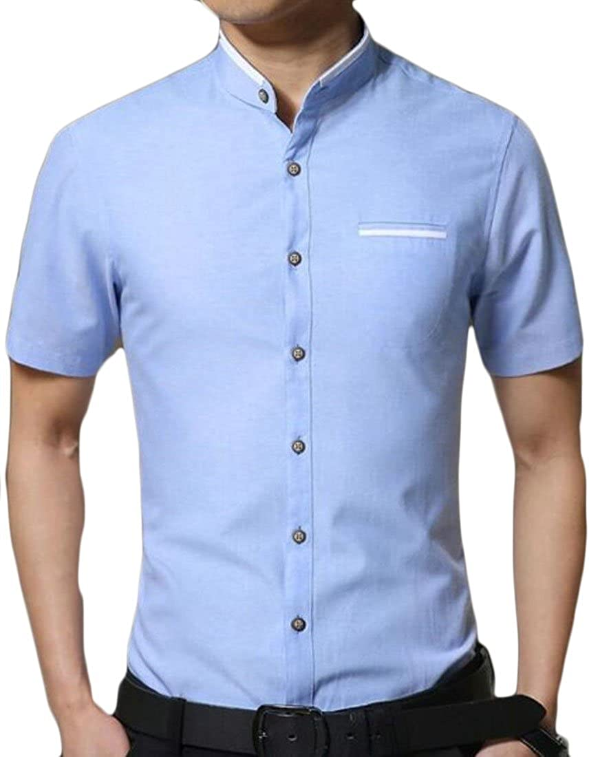 Spirio Mens Fashion Stand Collar Short Sleeve Slim-Fit Buttons Shirts
