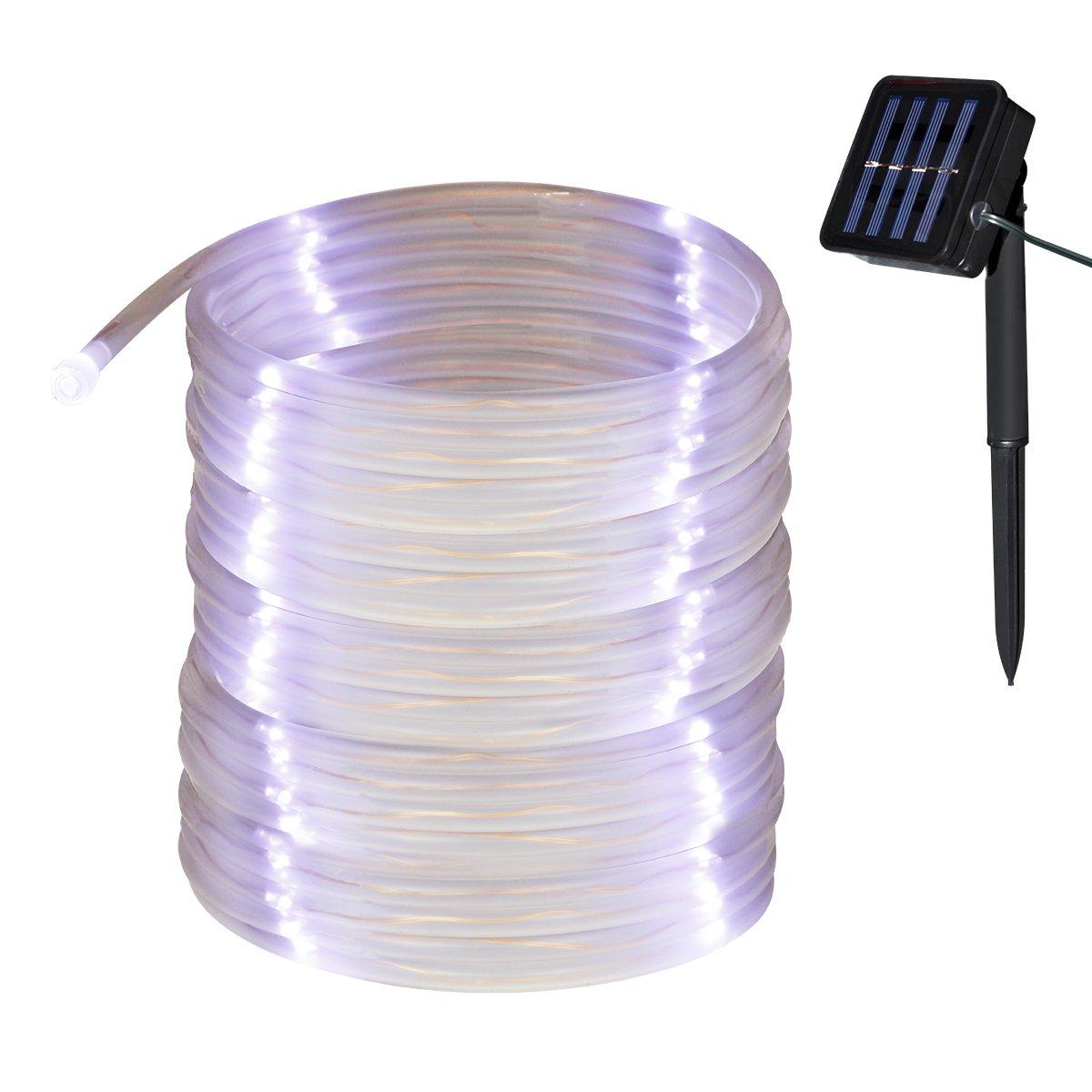 Yasolote 10M 100 LED Luci Solari Impermeabili Tubo Lampada Decorativa Illuminazione per Giardino, Patio, Terrazza, Balcone, Matrimonio, Festa, Natale (Bianco)