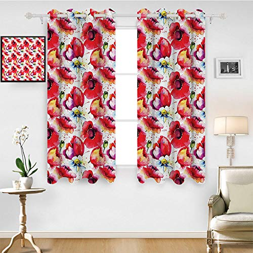 SATVSHOP Window Curtain Drape- 63W x 45L Inch-Decorative Curtains for Living Room.Poppy Colorful Combined Mixed Poppy Flower Petals Pattern Spring Garden Theme Paint Effect Style Blue.