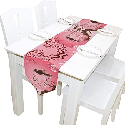 Double Sided Japanese Cherry Blossom Sakura Tree With Bird Table Runner 13  X 90 Inches