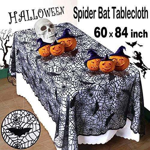 Halloween Spider Web Table Cloth Black Lace 60