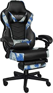 Video Gaming Chair Racing Office - PU Leather High Back Ergonomic Adjustable Swivel Executive Computer Desk Task Large Size with Footrest,Headrest and Lumbar Support (Ocean Camo)