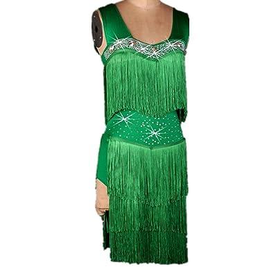 122f94bd9726a YC WELL Women Tassel Latin Dance Dress Performance Clothing Modern Waltz  Tango Dance Costume Party Stage