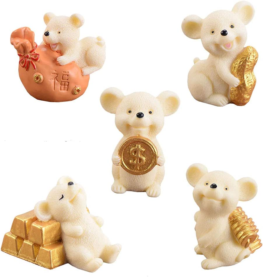UTENEW 5 Miniature Mice Figurines Little Mouse Fairy Garden Miniatures Small Rich Rats Desk Decoration Aborable Animal Ornaments Cute Plant Potted Decoration Figures, Yellow