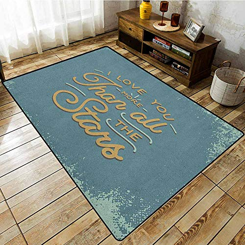 Indoor/Outdoor Rug,I Love You More,Vintage Letters and Grunge Look with Romantic Saying Love Affection,Anti-Static, Water-Repellent Rugs Slate Blue Amber But I Vintage Bonnet