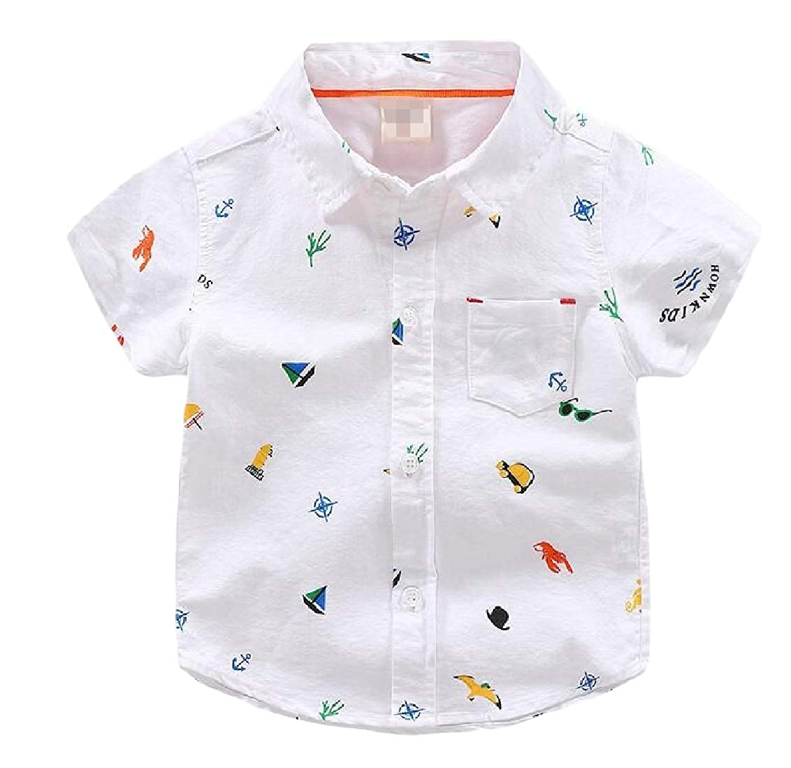 Hajotrawa Boys Graphic Summer Short Sleeve Button-Down Lovely Lapel Shirts