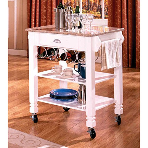 White Marble Veneer Mobile Kitchen Island (Butcher Block Buffet compare prices)