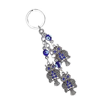 MagiDeal Búho Azul De Los Ojos Decoraciones Colgante Llavero Bolsos De La Llave del Anillo del Encanto del Coche: Juguetes y juegos