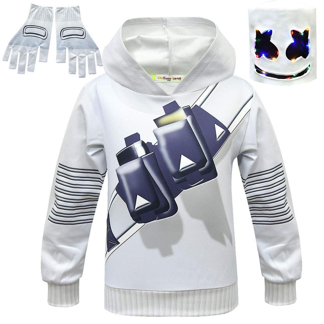 QYS DJ Marshmellow Costume Kids Fancy Party Dress Máscara suéter ...