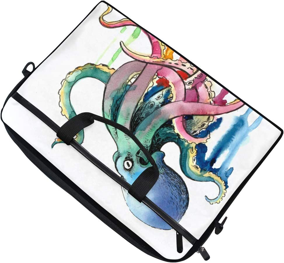 FICOO 15 Inch Laptop Sleeve Case Bag Watercolor Ocean Octopus Messenger Bag for Women Men Computer Carrying Case Fits 15-15.4 Inch Notebook