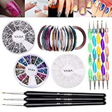 Fantastic Professional Nail Art Decorations Tools Set Kit With Silver Rhinestones Wheel, Gemstones In 12 Different Colors, 3 Wooden Fine Detail Brushes Liners, 5 Double Ended Dotting Marbling Utensils, 30 MultiColored Stripes / Striping Tapes And White Pearls Beads By VAGA©
