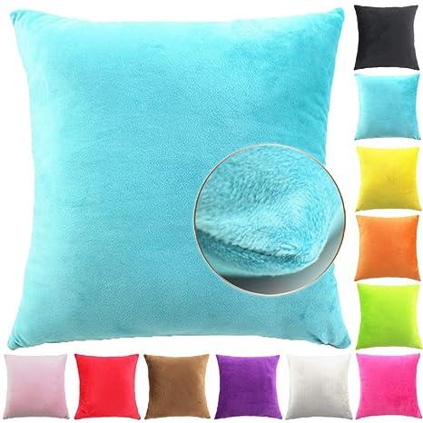 Easondea Fundas de Cojín de Color sólido Square Decorativos para Sofá Cama Coche Fundas Cojines Funda de Almohada Turquesa 65X65CM