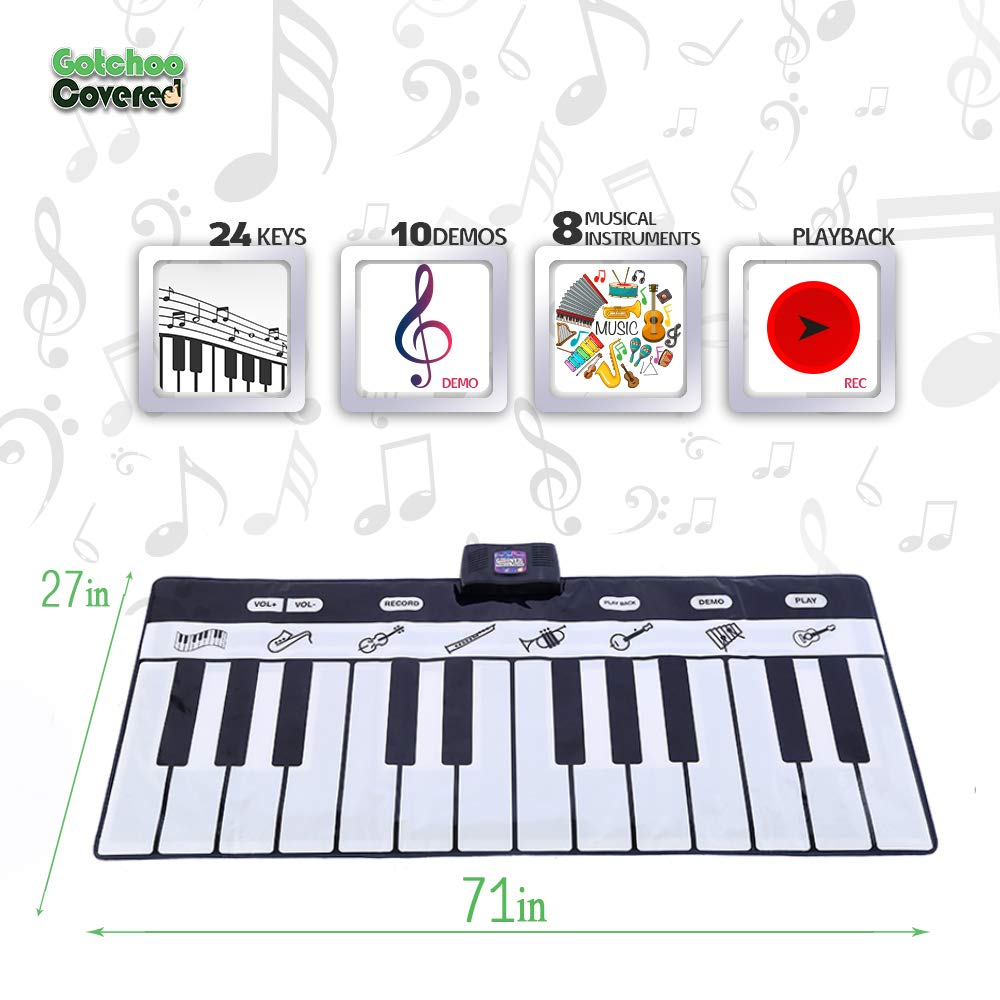 Gotchoo covered Musical Piano Play Mat - Great Way for Activity‏ & Learning, Toy-Educational for Toddlers to Learn Music Jumbo Sized Dance Keyboard mat with 24 Keys Piano Play- Multiple Instruments by Gotchoo covered (Image #4)
