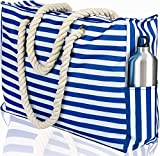 Beach Bag XL. 100% Waterproof (IP64). L22 xH15 xW6 w Cotton Rope Handles, Top Zipper, Extra Outside Pocket. Blue Stripes Beach Tote Includes Waterproof Phone Case, Built-in Key Holder, Bottle Opener